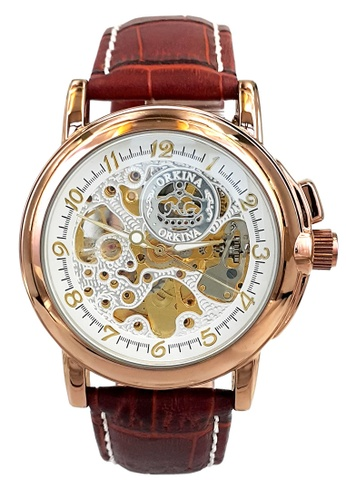 Chronomart brown and gold Orkina Men's Automatic Movement Leather Strap Wrist Watch CH783AC11VTWPH_1