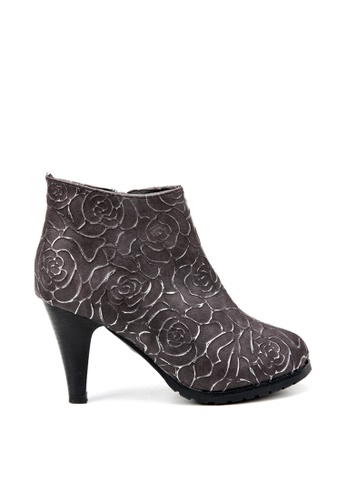 KissXXX grey Printed Gold Rose High Heel Grey Boots KI688SH2VN2QHK_1