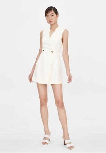 Pomelo beige Mini Button Wrap Dress - Cream 6689DAA4C3B5E4GS_1
