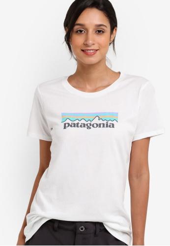 Patagonia white Pastel P-6 Logo Crew Top PA549AA74XBHMY_1