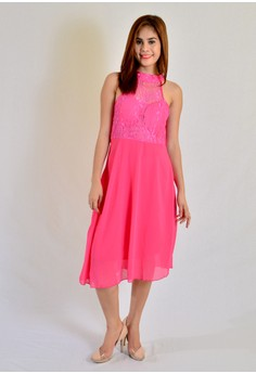 Midi Dress Combination Lace With Halter