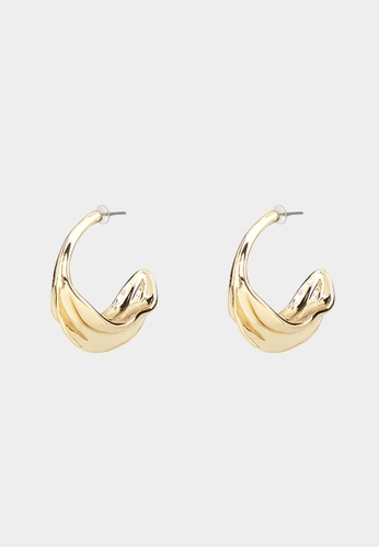 Pomelo gold Curled Accent Hoop Earrings - Gold CB4F5ACCD74EE5GS_1