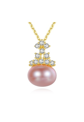 SUNRAIS gold Premium Color Stone Golden Crown Necklace 02E98ACFE06235GS_1