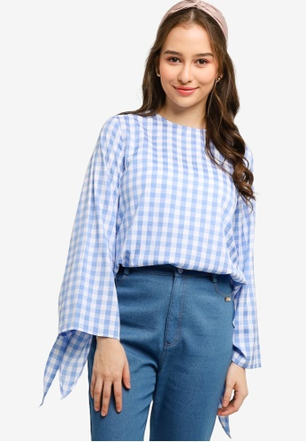 Lubna blue Tied Knot Sleeve Top 0E2FBAAC52FDDFGS_1