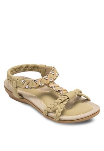 編織帶閃esprit tw飾涼鞋, 女鞋, 鞋