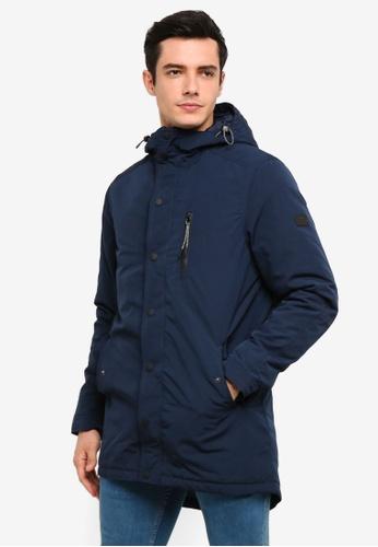 !Solid 海軍藍色 Stefan Padded 長版外套 7022FAA5696C73GS_1