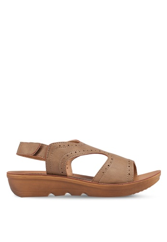 Noveni 褐色 Perforated Velcro Sandals 594B6SH5C73A28GS_1