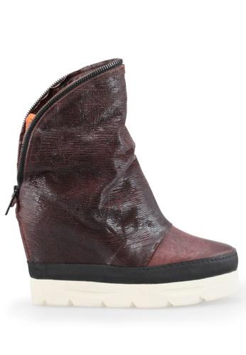 Shu Talk red Zipper  Calf Leather Hidden Wedge Boots CCDF0SH9AC7665GS_1
