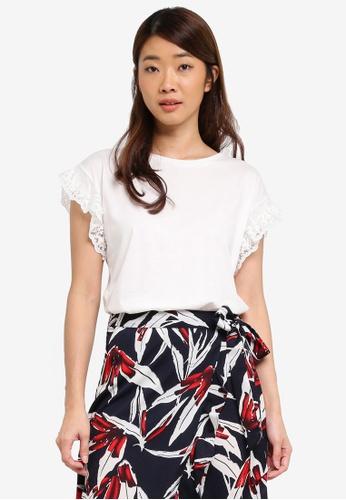 Dorothy Perkins white Ivory Pearl Mesh Sleeve T-Shirt 68229AA43C347DGS_1