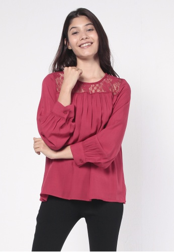 NE Double S red Round Neckline Shoulder Lace Trim Long Puff Sleeve Blouse D89A6AADC1F4ECGS_1