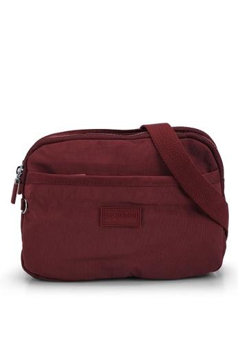 Bagstationz red Crinkled Nylon Dual Zip Sling Bag 6CDE3AC2F2679EGS_1