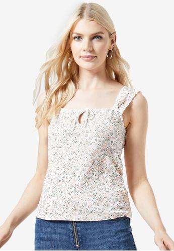 Dorothy Perkins white Floral Print Rib Tie Vest 064FEAA52DE0C6GS_1