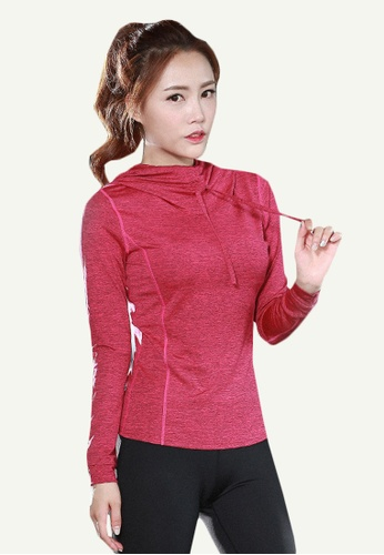 B-Code red ZYG5116-Lady Quick Drying Running Fitness Yoga Sports Hoodie-Red 626E2AA351D543GS_1