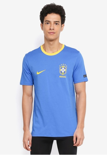 Nike blue and gold Brasil CBF Short Sleeve T-Shirt 81D77AA715AF0FGS_1