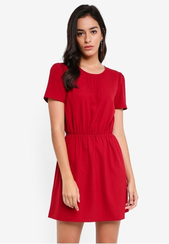 ZALORA red Short Sleeve Fit And Flare Dress 76046AA05C5FF4GS_1
