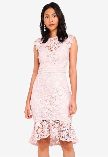 Lipsy beige Nx Nude Built Up Lace Flippy Hem Dress 66033AA22849EBGS_1