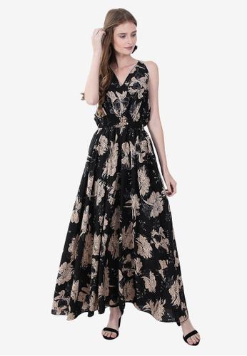Caoros black Printed Cinched Waist Maxi Dress 09DACAAE9D870DGS_1