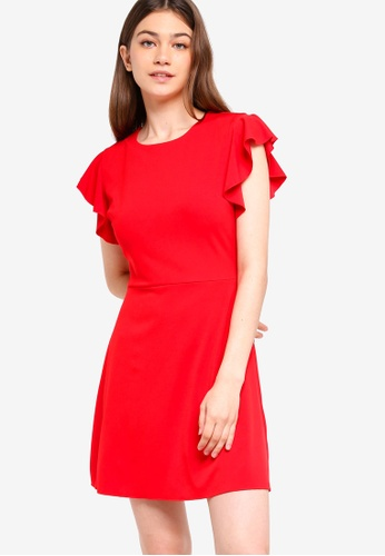 Something Borrowed red Flutter Sleeves Fit And Flare Dress E32A5AAFE0FF48GS_1