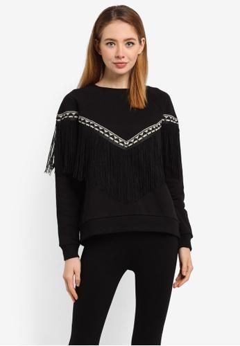 River Island black Fringe Tassel Sweatshirt 2B9E1AA14F3BC1GS_1