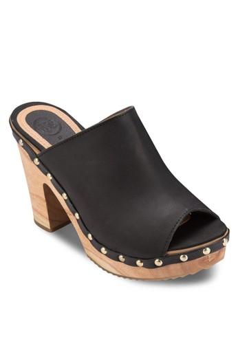 Yesa 鉚釘露趾木製粗跟涼鞋, esprit台北門市女鞋, 厚底鞋