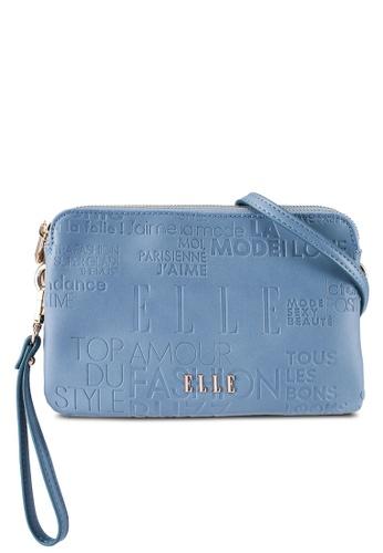 ELLE blue Emboss Double Sling Bag EL900AC0ROMZMY_1
