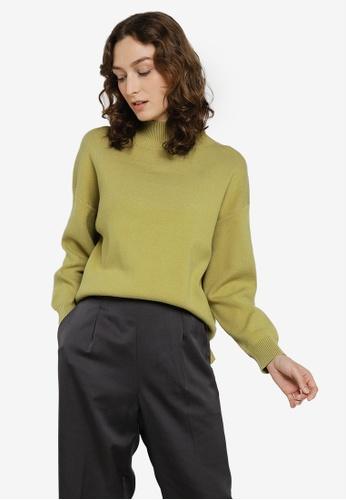 GLOBAL WORK green Hi-Lo Slit Pullover 7ED01AA3AF860DGS_1