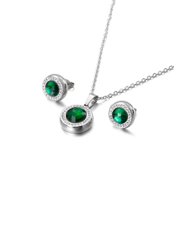 Glamorousky white Fashion Simple Geometric Round 316L Stainless Steel Necklace and Stud Earring Set with Green Cubic Zirconia 4138EACAA587C9GS_1