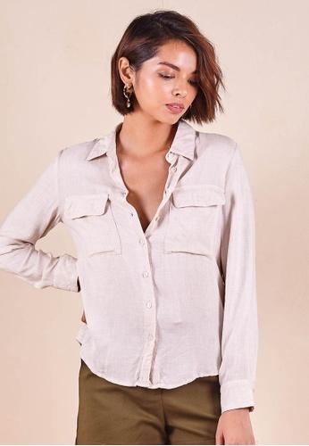 Dressing Paula beige Rayon Shirt Top 9AC90AA3F9F739GS_1