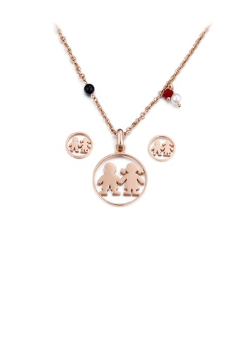 Glamorousky silver Fashion Sweet Plated Rose Gold Couple Geometric Round 316L Stainless Steel Necklace and Stud Earring Set 8A735AC69A869AGS_1