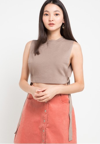 Uptown Girl brown Crop Knit Vest W/Buckle 4850BAAC6CBA84GS_1