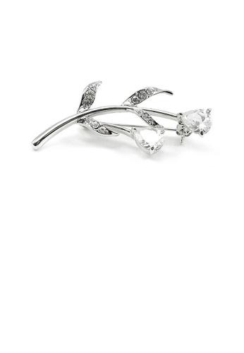 Glamorousky silver Elegant Brooch with Austrian Element Crystals F26D7ACF230F9FGS_1