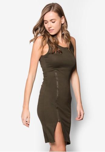 拉鍊無袖貼身連身裙, zalora 衣服評價服飾, 派對洋裝