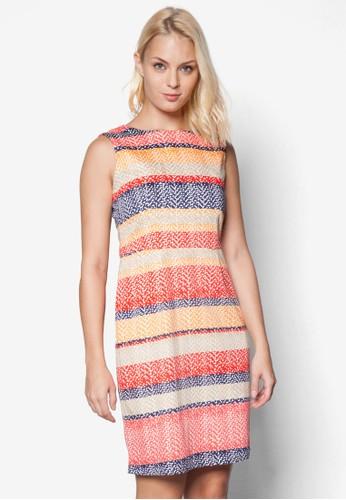 撞色zalora是哪裡的牌子條紋無袖連身裙, 服飾, 洋裝