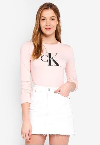 Calvin Klein pink A-Monogram Logo Long Sleeve Tee - Calvin Klein Jeans 7EAADAA0C7355DGS_1