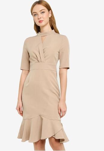 ZALORA WORK brown High Neck Ruffle Hem Dress 8A675AA41C7827GS_1