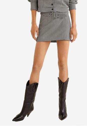 Mango black Houndstooth Belt Mini Skirt 7B829AA238678EGS_1