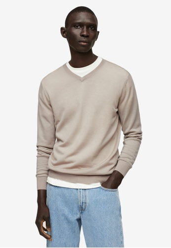MANGO Man brown Merino Wool Washable Sweater 005E2AABB24502GS_1