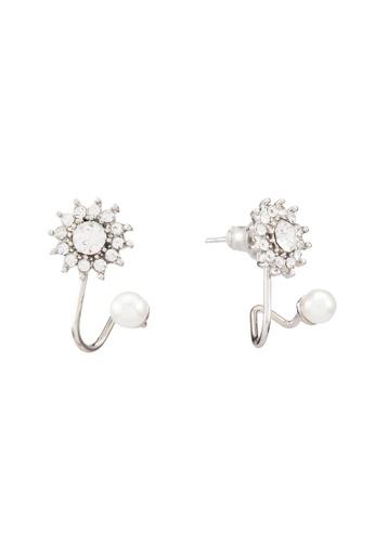 Red's Revenge silver Sunburst Diamante Mini Cuff Earrings RE144AC0RRUWMY_1