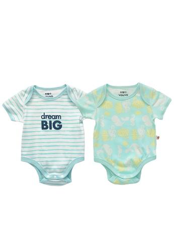 Vauva green and blue Vauva Baby Organic Cotton Romper Set - Ocean Whale & Blue Stripes E2341KAF6708EAGS_1