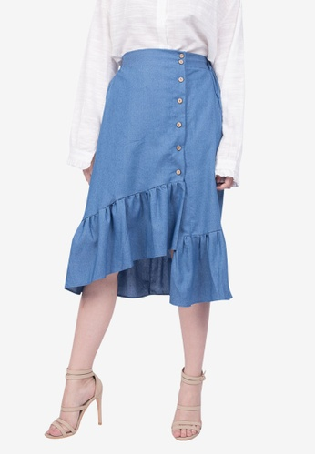 d882aa3663 Shop Somura Ruffled Denim Skirt Online on ZALORA Philippines