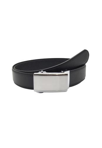 Oxhide black Business Belt - Real Leather Ratchet Belt with Auto Lock Buckle - Track Belt - ABB3D Oxhide Black 116D6AC1B2838BGS_1