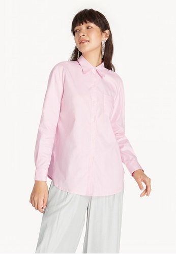 b456ea730 Shop Pomelo Front Pocket Buttoned Up Shirt - Pink Online on ZALORA  Philippines