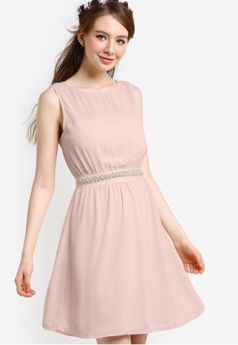 ZALORA pink Bridesmaid Embellished Waist Tie Mini Dress 0DCCDAA8A206B4GS_1