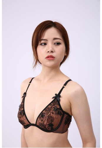 QuestChic black and multi and beige Callista Sheer Embroidery Balconette Bra EC432US4EE297AGS_1