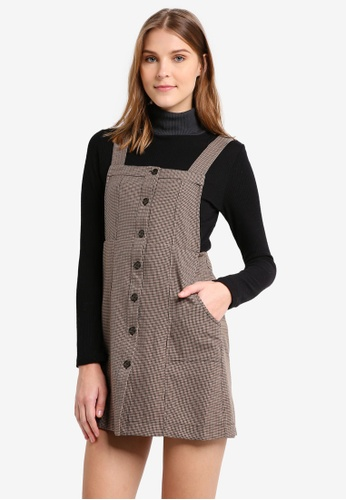 TOPSHOP brown Heritage Checkered Pini Dress TO412AA0T0V5MY_1