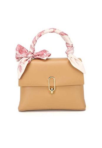 Lara beige Women's Silk Scarf Handle PU Leather Flap Shoulder Bag - Khaki 2DA01AC67A942FGS_1