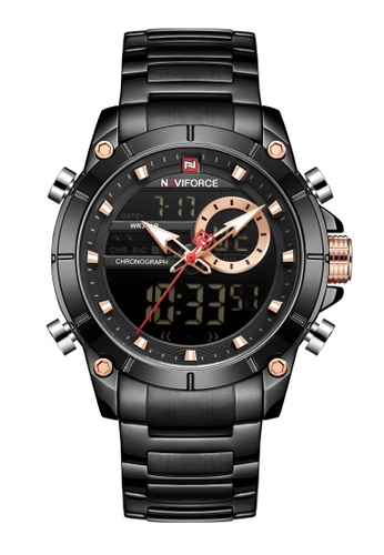 NAVIFORCE black Naviforce Rose Gold and Black Stainless Steel Watch 931F9AC6D89ADDGS_1