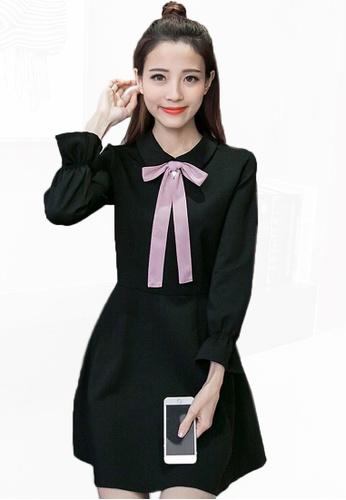 Sunnydaysweety black S/S New Bowknot Collar One Piece Dress CA02171BK-0 65A40AAF43AAC5GS_1