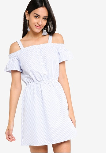 ZALORA blue and multi Fit And Flare Button Details Dress 22D35AA294746CGS_1