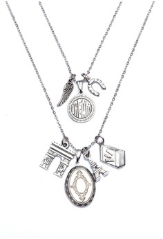 Angel Wing Dream Horseshoe Arc De Triomphe Locket Paris Eiffel Tower Luggage Double Necklace